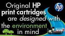 Original HP print cartridges are designed with the environment in mind
